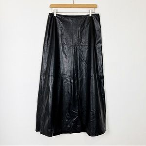 Vintage leather maxi skirt a-line goth dom black